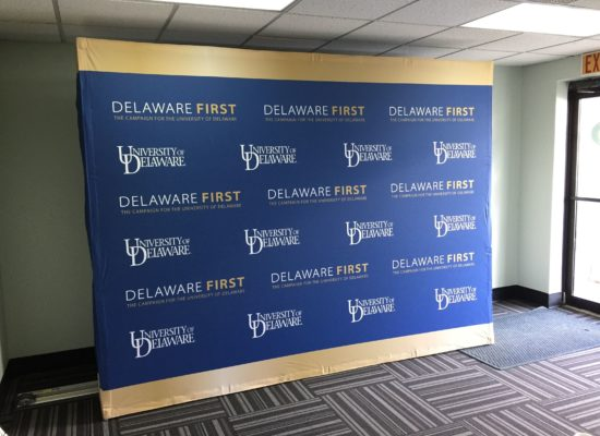 signs-now-wilmington-step-and-repeat-display-for-university-of-delaware